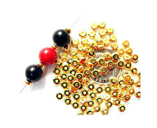 50 Outstanding Gold Plated Flat Metal Heishe Spacer Beads 4MM