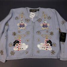 Christopher Radko Christmas Zipper Sweater Frost Snowman Cardigan Medium $209