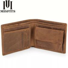 MISFITS New Genuine Leather Mens Wallets Crazy Horse Leather High Quality Purses