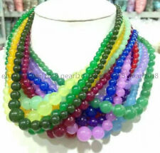 Wholesale 6-14mm Multi-color Round Gemstone Beads Jewelry Necklace 18'' AAA
