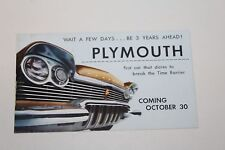 1957 PLYMOUTH  DEALER ADVERTISING  POSTCARD