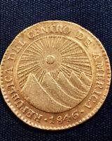 Central American Republic 1846 NGA 2 Gold Escudo AU CANTELOUPE & KUMQUAT TONES