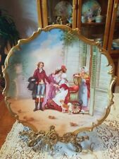 """15.5"""" Magnificent Limoges Figural Scene Porcelain Plaque Charger, French Listed"""