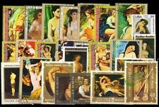 Nude Paintings on Stamps-25 Different Large World Wide Thematic used Stamps