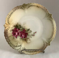 """R S Prussia 6 1/4""""Porcelain Hand Painted Gilded Vanity Trinket With Rose Pattern"""