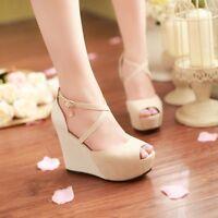 Womens Peep Toe High Platform Wedge Heels Cross Strap Party Club Shoes Sandals