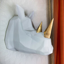 Contemporary Quality Faux Taxidermy White Gold Rhino Wall Mount Art Home Decor