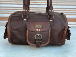 "Women's 13"" Cow Leather Travel Luggage Duffel Shoulder Gym Holdall Weekender Bag"