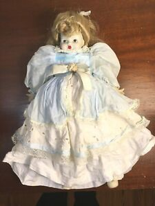 "14""  Vintage China Head, Arms and Feet Doll with Blonde Hair, Blue & White Dress"