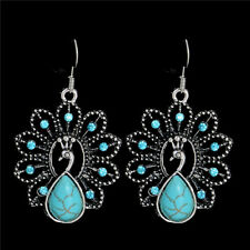 UK PEACOCK DANGLE DROP EARRINGS Tibetan Silver Boho Gypsy Jewellery Turquoise