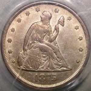 1875 CC LIBERTY SEATED SILVER TWENTY CENTS PIECE GORGEOUS SCARCE KEY PCGS AU 53