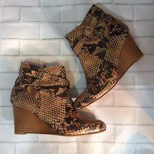 NWOB Ria Manyari Womens Leather Snake Print Ankle Wedge Boots Size 36(6)