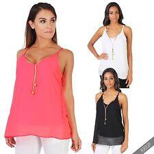 Ärmellose Taillenlang Damenblusen,-Tops & -Shirts mit Polyester für Freizeit
