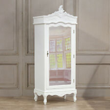 French Style White Chateau Single Armoire Full Mirror Door Chic Wardrobe