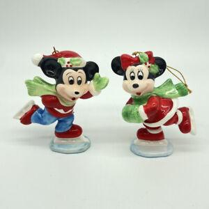 Vintage Disney Mickey Minnie Mouse Christmas Ornament Ice Skating Japan 1960s