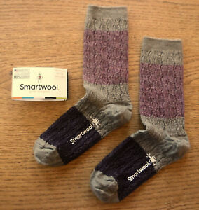 NWT SMARTWOOL Merino Wool Color Block Cable Womens Crew Socks-Medium @$19 FOSSIL