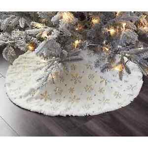 Faux Fur Christmas Tree Skirt - Champagne Sequin 100cm