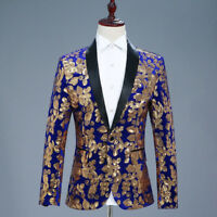 Men Panne Velvet Sequin Suit Blazer Glitter Jacket Flower Shiny Costume Clubwear