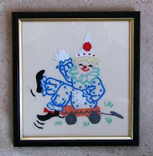 VINTAGE FRAMED HAND EMBROIDERY CIRCUS CLOWN IDEAL FOR A CHILD ROOM OR COLLECTION