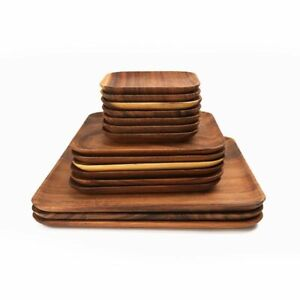Wooden Pan Dinner Plates Square Rectangle Fruit Dishes Bread Pizza Dessert Tray