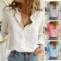 Women's Button Down Long Sleeve T-Shirt Ladies Loose Plain Casual OL Blouse Tops