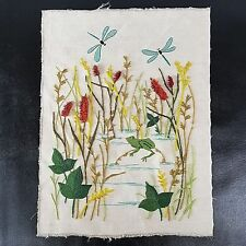Vintage Crewel Frog Pond Needle Completed Artwork Unframed Cat O Nine Tails