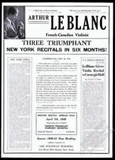 1940 Arthur LeBlanc photo violin recital tour booking trade print ad