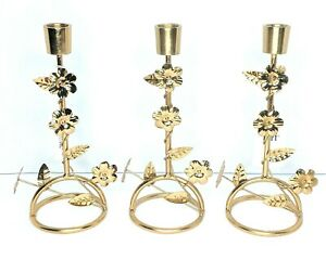 """Pier 1 Candle Holder 9"""" Single Arm Gold With Flowers Metal LOT OF 3 NWT"""