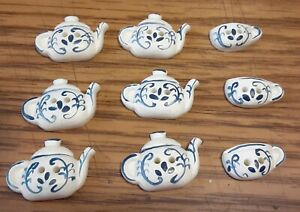"Vtg JHB International Realistic Novelty Plastic Resin BUTTONS Tea Pot Cups 7/8"""