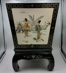 Vintage Oriental Black Lacquer Wood Mother of Pearl Planters & Stands