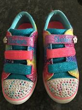 Skechers Twinkle Toes Girls Light Up Multi Trainers Size 3. Great Condition.