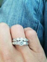 14k Solid White Gold 2.55ct Round Cut Diamond Engagement Bridal Set Wedding Ring