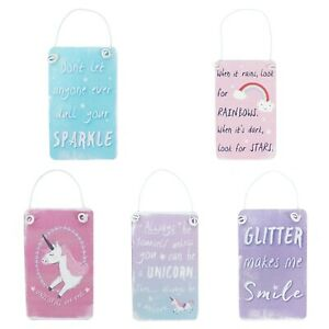 Unicorn Hanging Signs,Metal,Rainbow Sparkle Glitter Pink Plaques,Gift,Mini sign