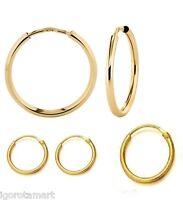Gold Plated Hoop Loop Earrings Piercings Womens Round Hoops Jewelry