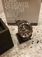 New Nixon The Ride BLACK with HORWEEN leather band Watch! MINT!