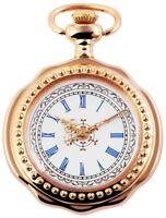 Taschenuhr Weiß Gold Muster Analog Quarz Metall Römisch D-60547185714575