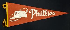 "1960s Philadelphia Phillies 28-7/8"" Phillies Cap Logo red Felt Pennant w/Tassels"