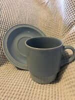 Poole Pottery - Vintage Retro - Coffee Mug - Cup And Saucer - Sky Blue RARE