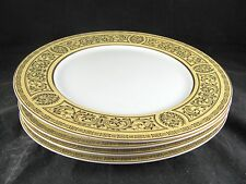 """4 Sears Golden Damask Dinner Plates, 10-5/8"""", gold, black, yellow, 2 sets avail"""