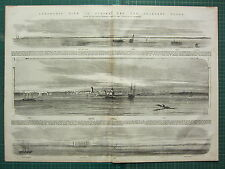 1854 DATED ANTIQUE ILN PRINT SULINA TOWER SOUTH CHANNEL LIGHTHOUSE SHIPS INLAND