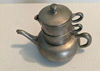 Vintage Pewter Teapot Set  with Creamer & Sugar bowl