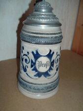 Bierkrug Prosit 1 L(iter) mit Zinndeckel, Westerwald Steinzeug um 1900
