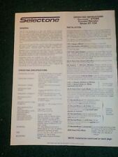 Selectone Operating Install Manual ST 104 Econotone CTCSS Encoder Decoder 1982