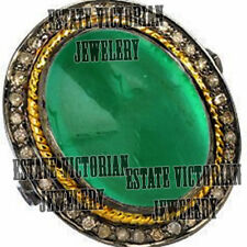 Emerald Studded Silver Ring Jewelery Victorian Inspired 1.64cts Rose Cut Diamond