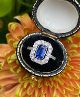 Art Deco Sapphire and Old Cut Diamond Cluster Ring Platinum 1.05ct + 0.50ct