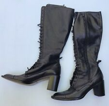 Robert Clergerie Boots 8.5 Black Leather Lace Up Steampunk Knee High Heel Shoes