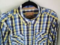 Red Camel Shirt Mens Large Blue Yellow Plaid Button Front Long Sleeve Pockets
