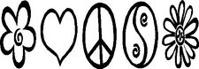 Peace Hearts Flowers Ying and Yang Window decal sticker