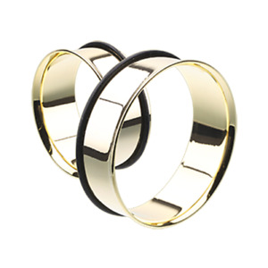 Supersize Gold Plated Single Flared Ear Tunnel Plug - O-Ring - Sold as a Pair