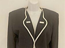 Vintage Jacket Short 8 Cache Black + White Trim Shoulder Pads Lined Preowned Usa